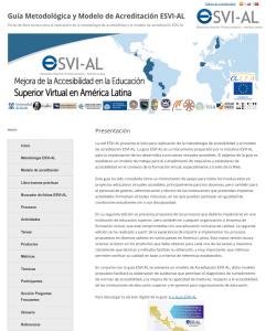 Página principal del Portal de libre acceso para la replicación de la metodología de accesibilidad y modelo de acreditación ESVI-AL