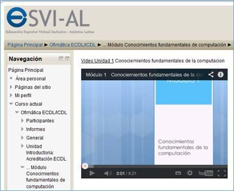 Toma de pantalla de Portal web de cursos ESVI-AL en Universidad de Alcalá